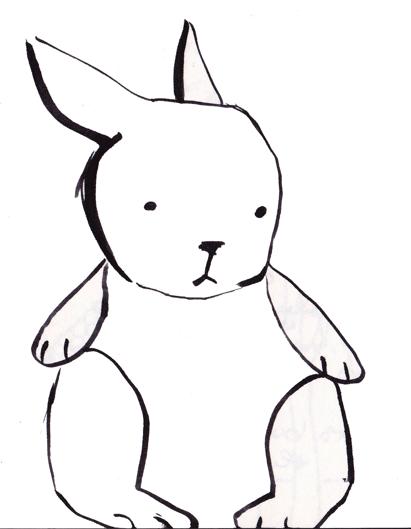 1359x1748 Bunny Clipart Line Drawing
