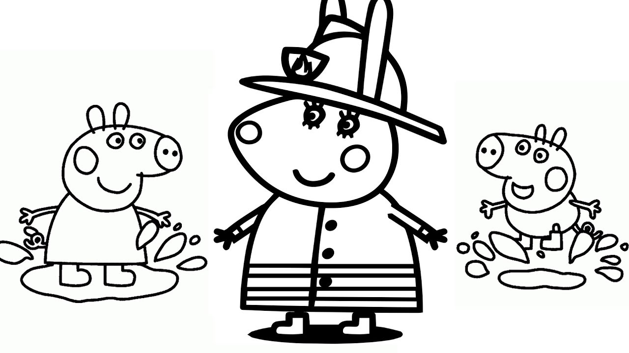 1280x720 How To Draw Peppa Pig Amp Miss Rabbit Fireman Coloring Pages Kids