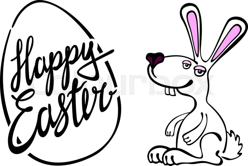 800x536 Happy Easter Card With Rabbit Outline Art Stock Vector Colourbox