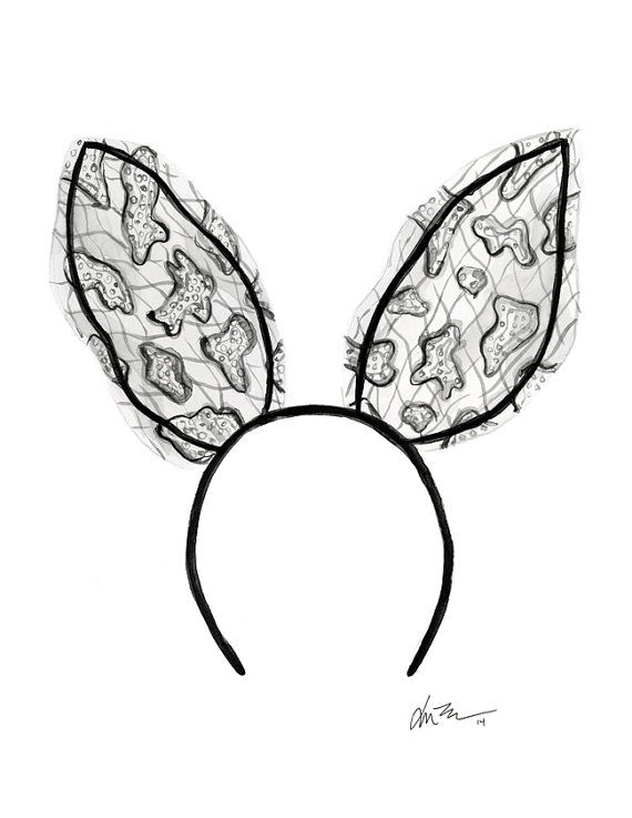 570x737 Lace Bunny Ears Illustrations Lace Bunny Ears