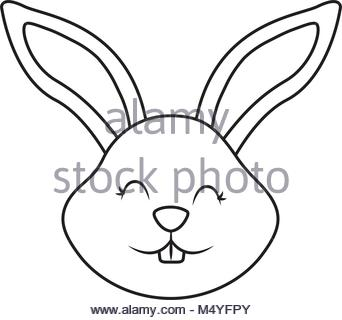 342x320 Bunny Cute Funny Cartoon Head. Rabbit Vector Illustration Stock