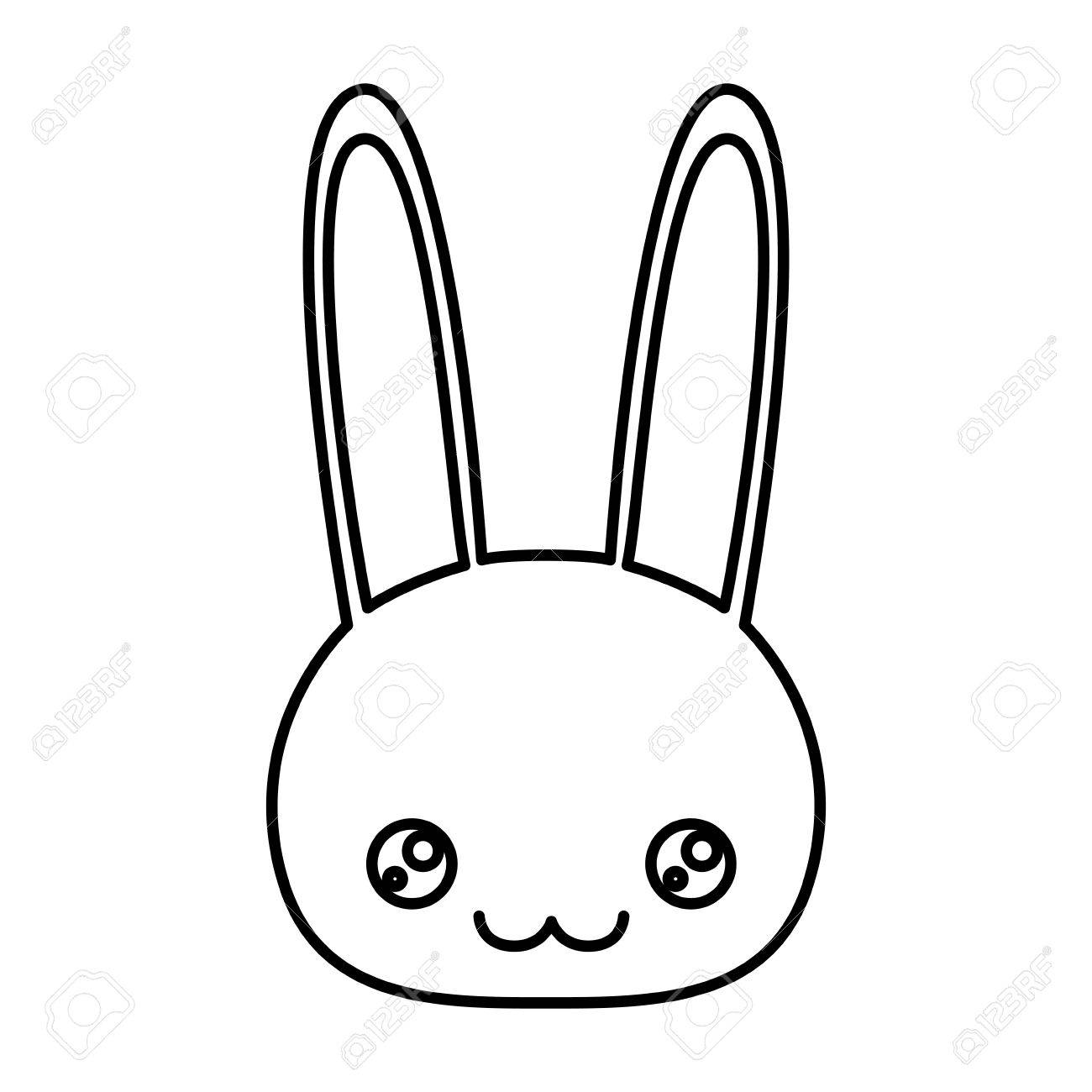 1300x1300 Sketch Silhouette Of Caricature Face Rabbit Cute Animal Happiness
