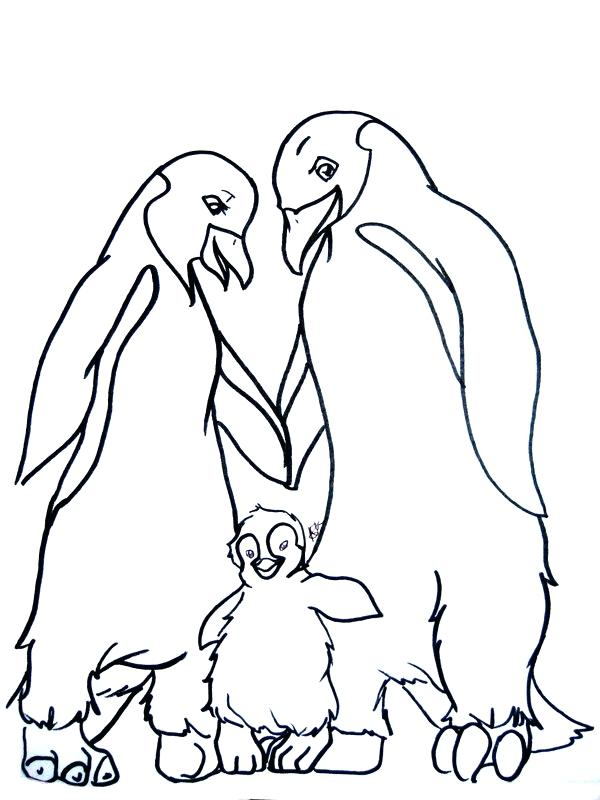 600x800 Feet Coloring Pages Happy Penguin Family Coloring Page Rabbit Feet