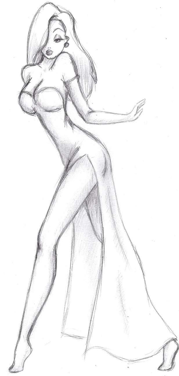 617x1294 Jessica Rabbit Sketch By Nimhel