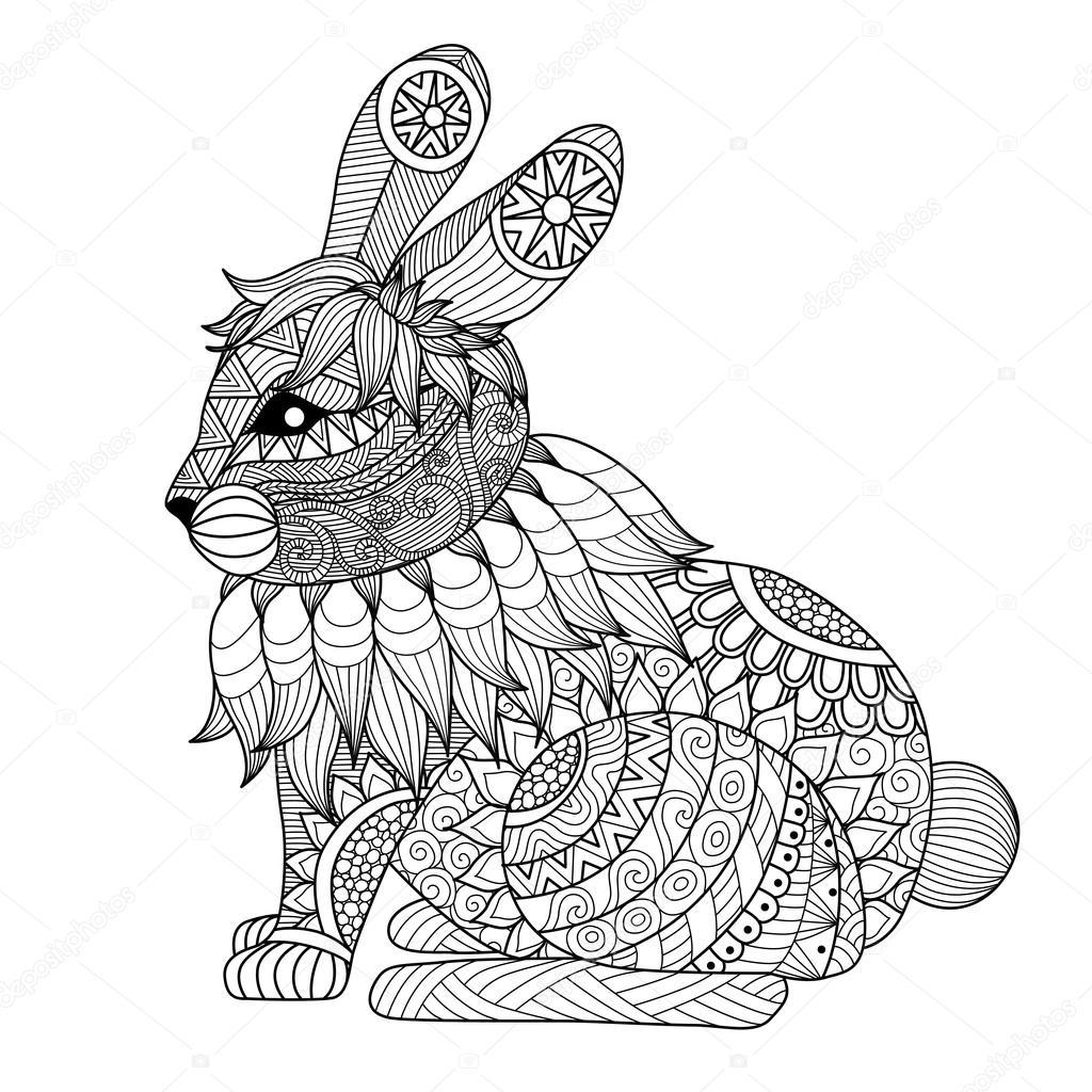 1024x1024 Drawing Zentangle Rabbit Stock Vector