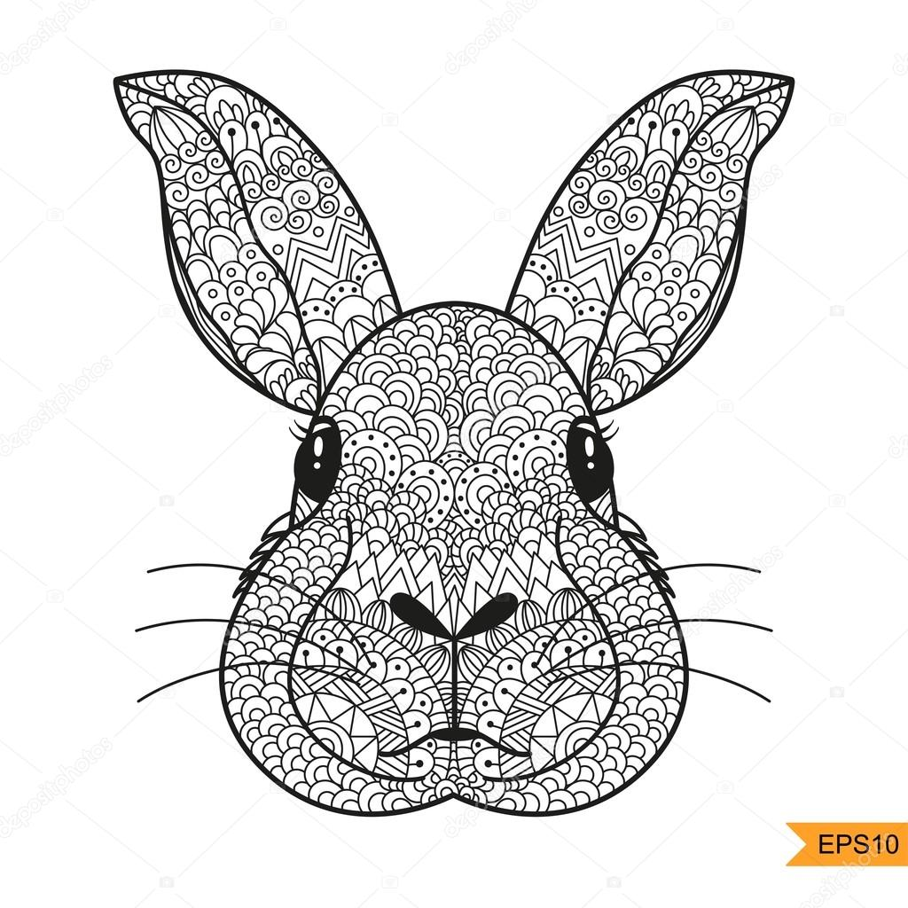 1024x1024 Zentangle Rabbit Head For For Adult Antistress Coloring Page