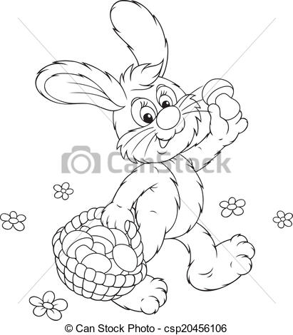 411x470 Bunny With A Basket Of Mushrooms. Rabbit Walking And Vector