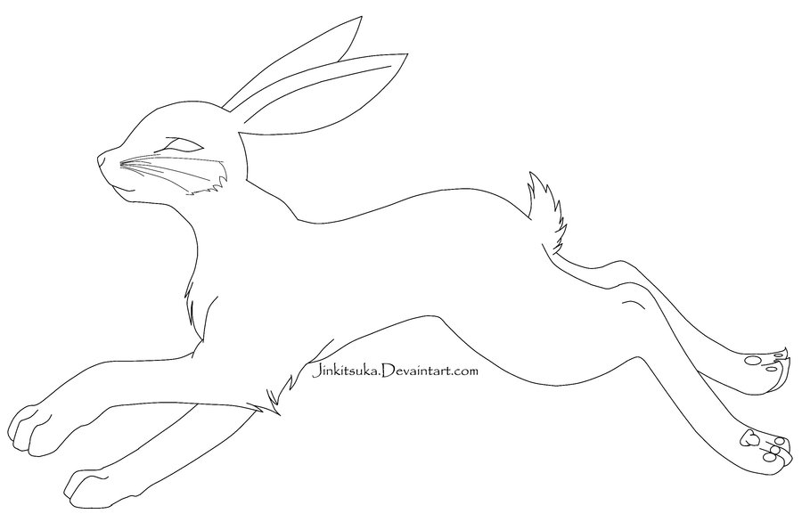900x586 Free Rabbit Line Art By Jinkitsuka