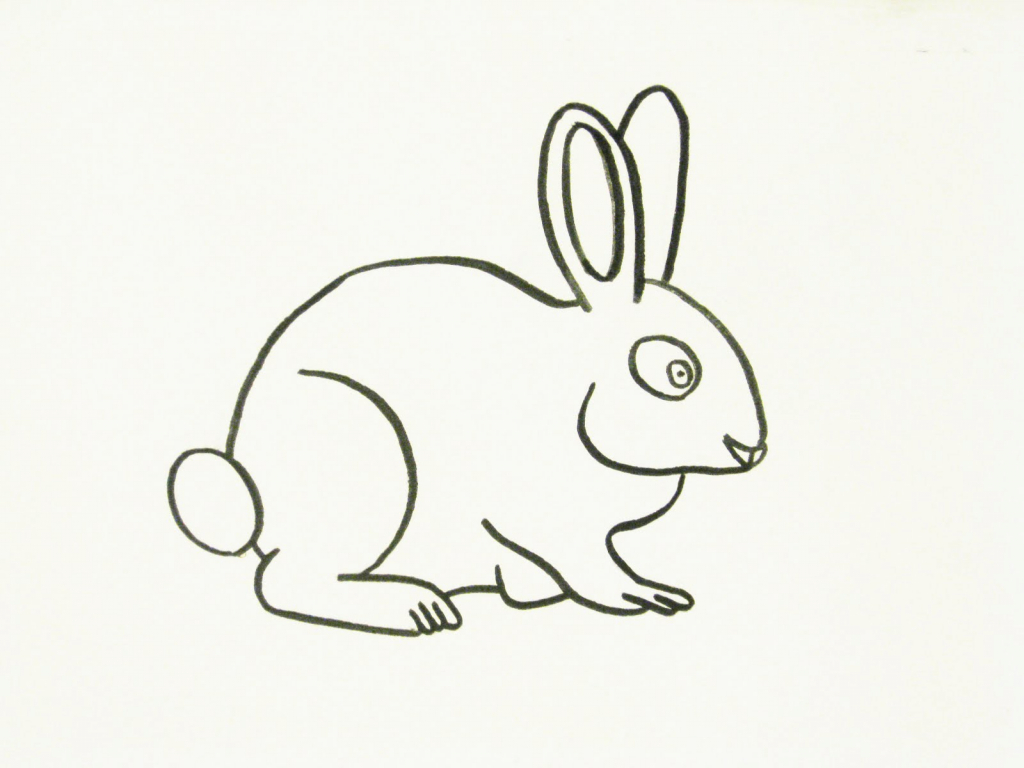 1024x768 Line Drawing Of Rabbit
