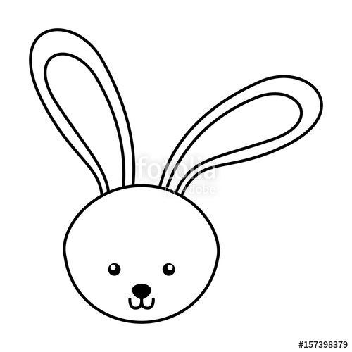 500x500 Cute Line Icon Rabbit Face Cartoon Graphic Design Stock Image