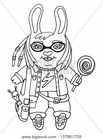 347x470 Outline Drawing Cute Rabbit Girl Vector Amp Photo Bigstock