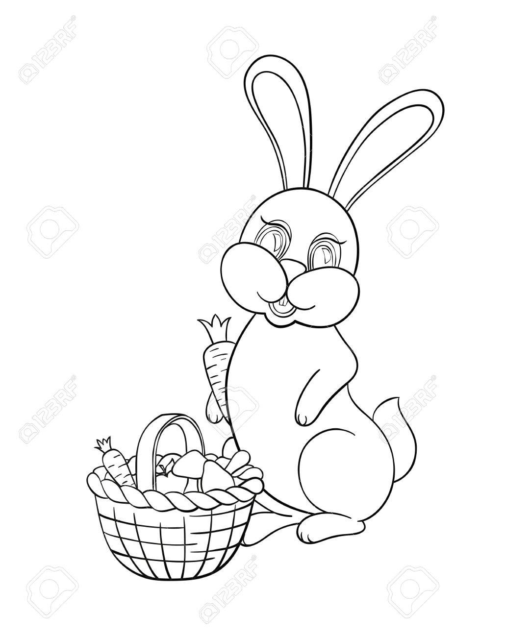 1083x1300 Vector Illustration Coloring For Kids With Rabbit To Collect