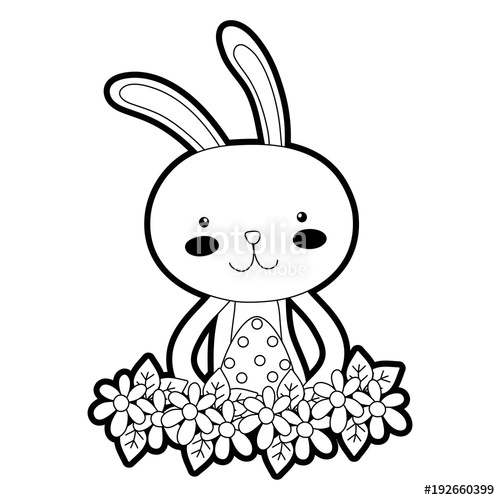 500x500 Outline Rabbit Animal With Egg Easter With Flowers Stock Image