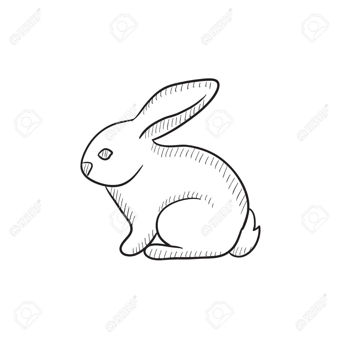 1300x1300 Rabbit Vector Sketch Icon Isolated On Background. Hand Drawn