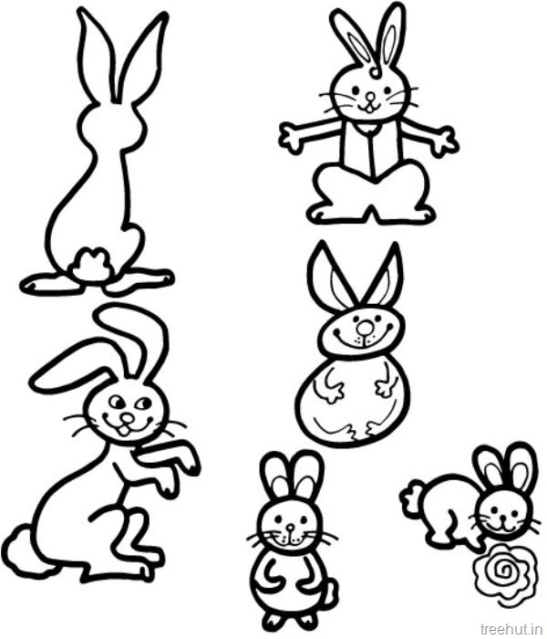 600x700 Cute Bunny Rabbits Coloring Pictures