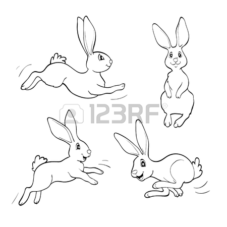 450x450 Set Of Cute Cartoon Rabbits. Line Art Vector Drawing Royalty Free