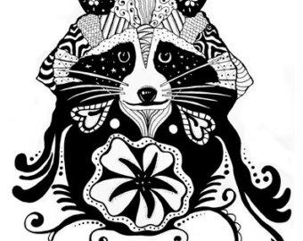 340x270 Raccoon Zentangle Print Zentangle Raccoons