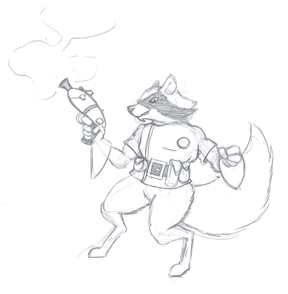 588x600 Rocket Raccoon Pencil Sketch By Billyj