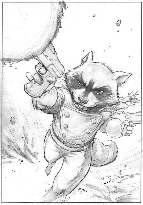564x806 Rocket Raccoon Sketch By Deankotz On Lineart