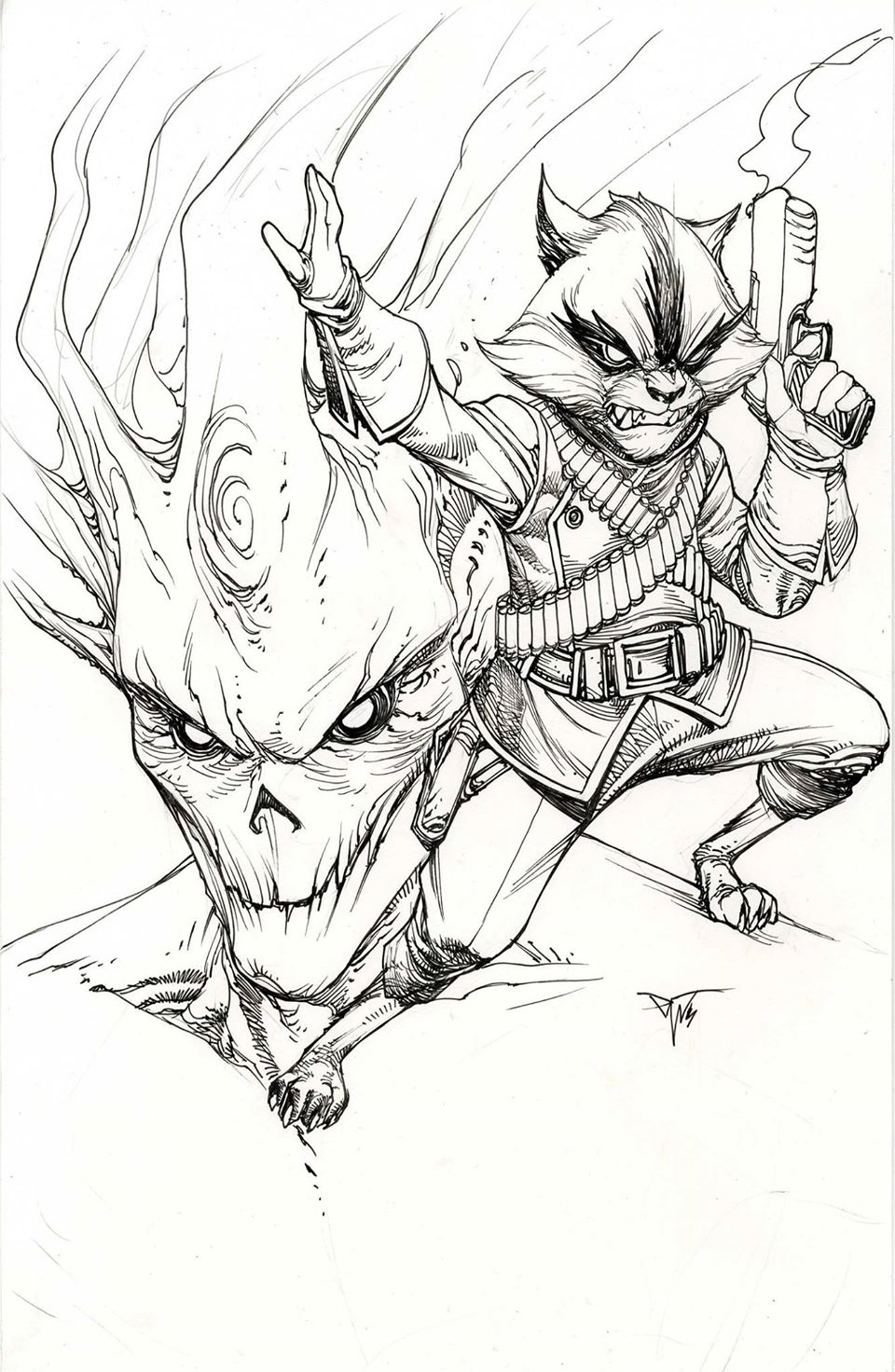 960x1472 Groot And Rocket Raccoon By Paolo Pantalena
