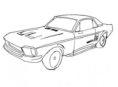 500x370 Racing Car Ford Mustang Coloring Page