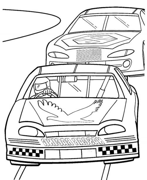 500x612 Two Nascar Racing Car Precede Each Other Coloring Page Roger'S