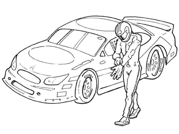 730x547 NASCAR Driver And His Car Coloring Page Sports Pages