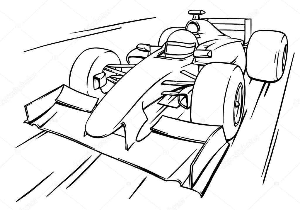 1024x716 Childs Funny Fast Cartoon Formula Race Car Illustration Art