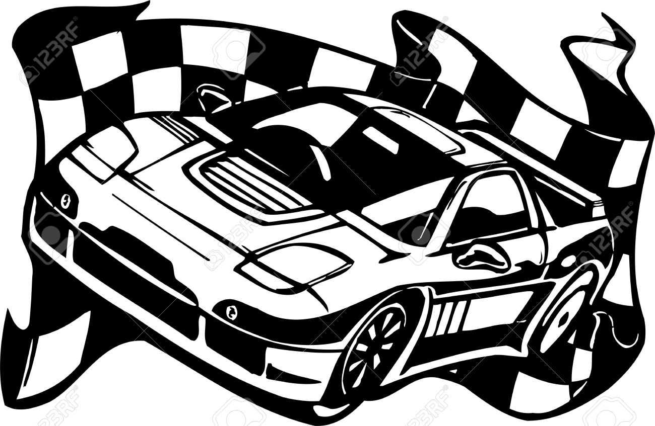 1300x847 Stock Race Car Black And White Clipart
