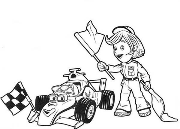 600x429 Roary The Racing And Marsha Holding Race Flag Car Coloring Pages