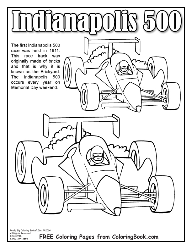 612x792 Coloring Books Free Online Indianapolis 500 Page