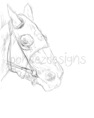 400x500 Racehorse Head By Equine Gg
