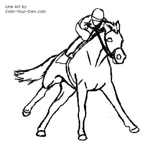 500x500 Galloping Racehorse Coloring Page