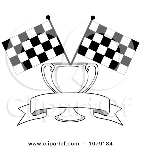 450x470 Clipart Two Crossed Checkered Racing Flags And A Red Banner