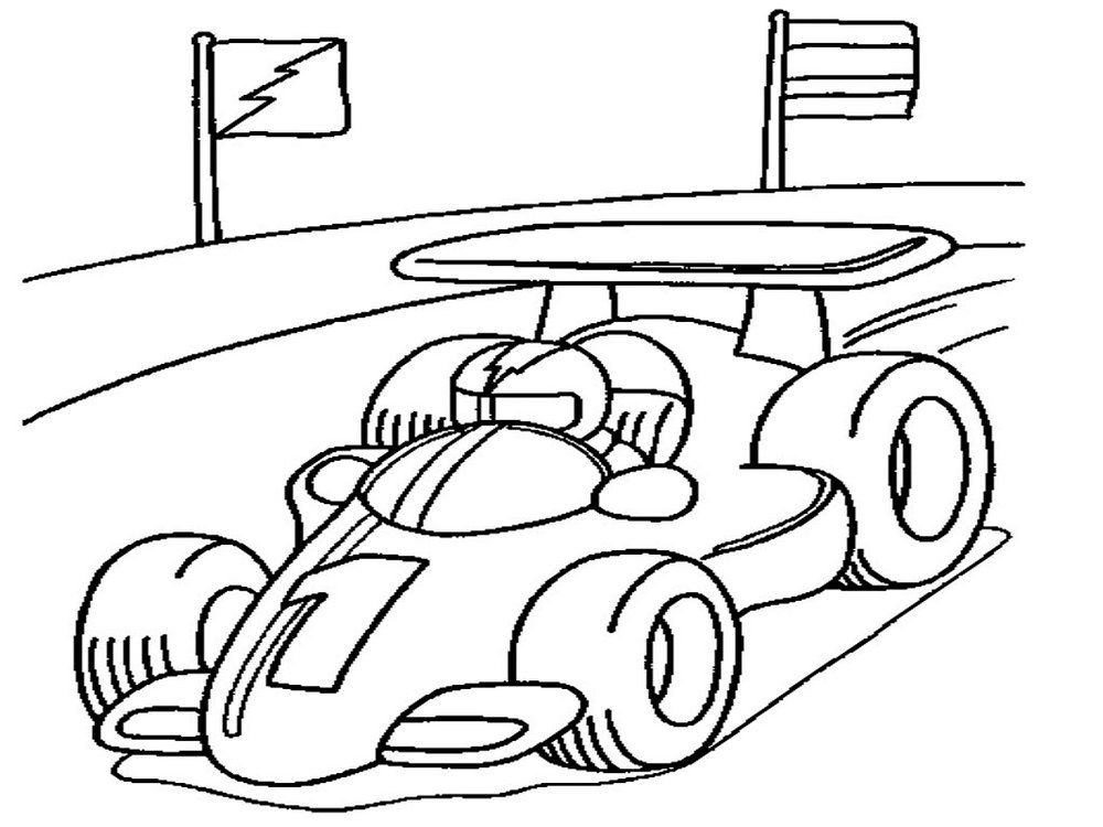 1000x750 Race Car Coloring Page For Your Boys