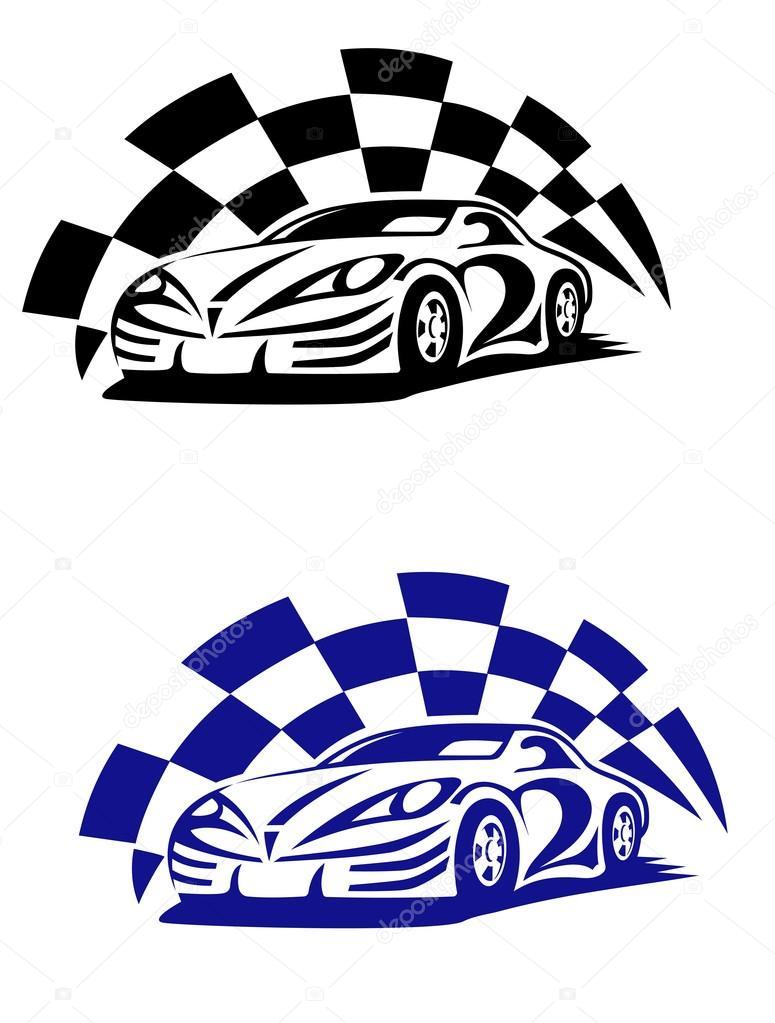 775x1023 Race Car With Racing Checkered Flag Stock Vector Nihongo