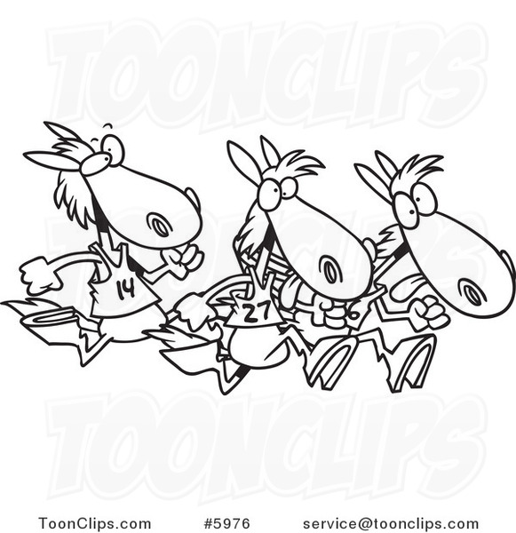 581x600 Cartoon Black And White Line Drawing Of Racing Horses