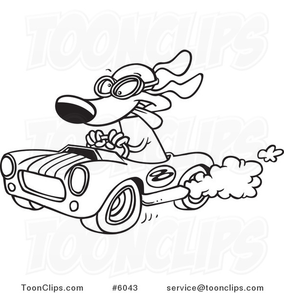 581x600 Cartoon Black And White Line Drawing Of A Dog Racing A Hot Rod