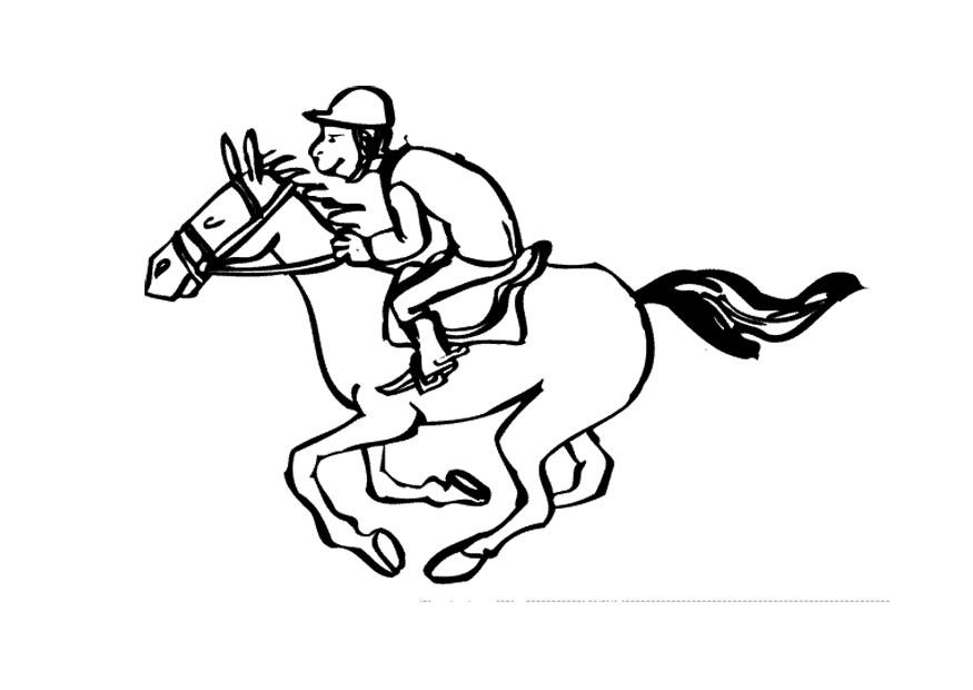 875x620 Coloring Page Horse Racing