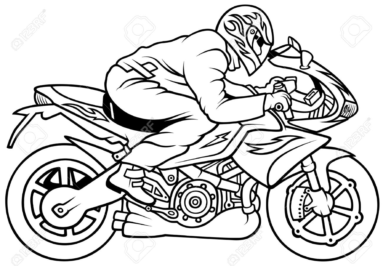 1300x904 Motorcycle Racing, Hand Drawn Illustration + Vector Royalty Free