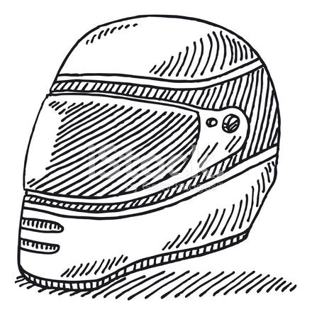 440x440 Racing Helmet Drawing Stock Vector