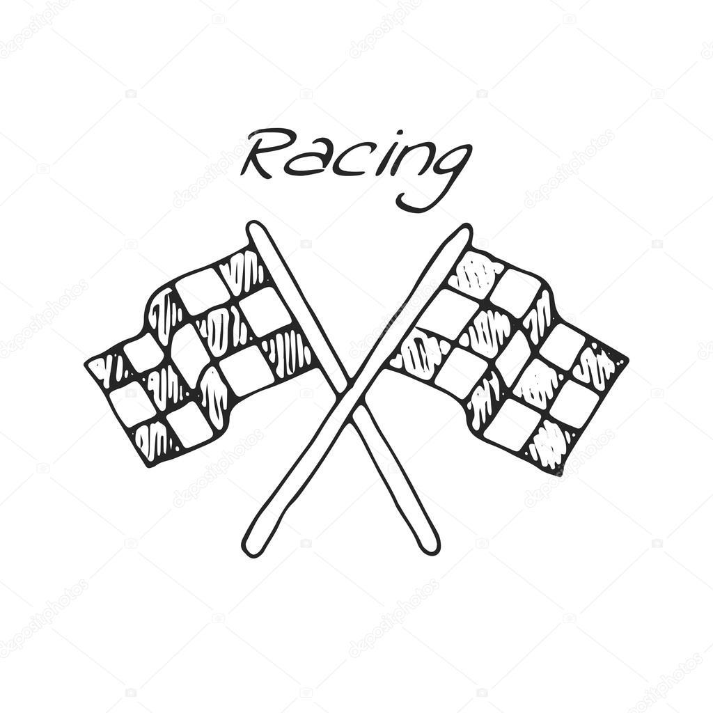 1024x1024 Racing Flag In A Drawing Style Stock Vector Tatintamikhaylova