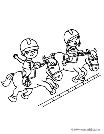 364x470 Steeplechase Horse Racing Coloring Pages