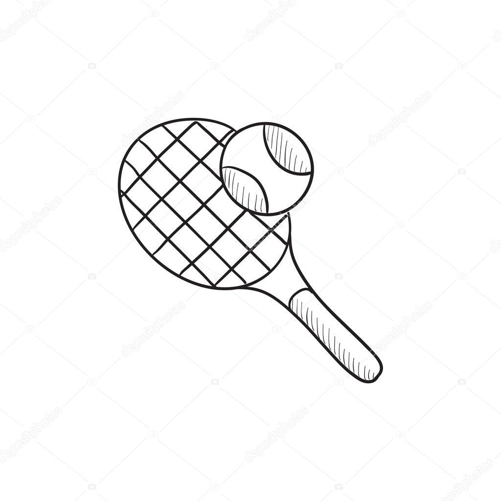 1024x1024 Tennis Racket And Ball Sketch Icon. Stock Vector Rastudio