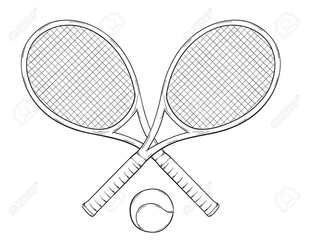 1300x1045 Two Tenis Rackets And Ball, Sketch Royalty Free Cliparts, Vectors
