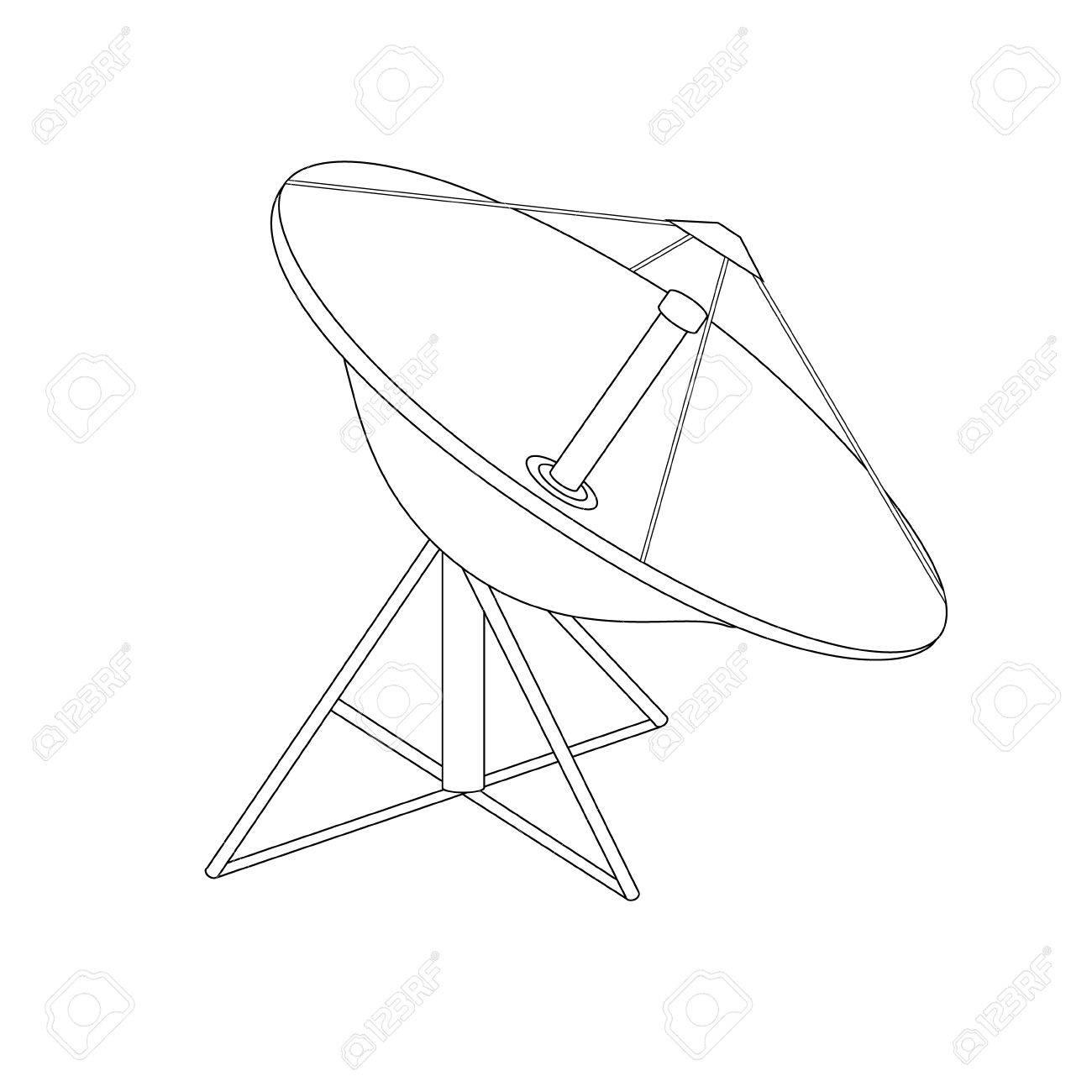 1300x1300 Raster Illustration Satellite Dish Antenna Outline Drawing. Radar