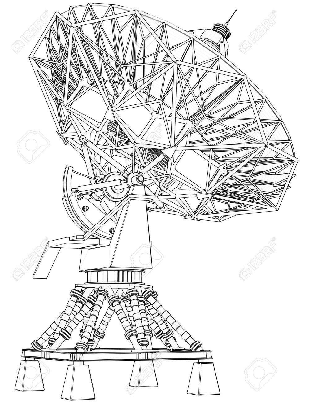 1040x1300 Satellite Dishes Antenna (Doppler Radar) Technical Draw Stock