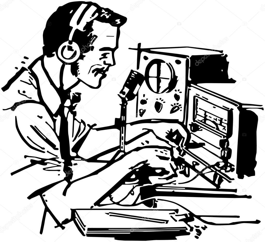1024x938 Ham Radio Operator Stock Vector Retroclipart
