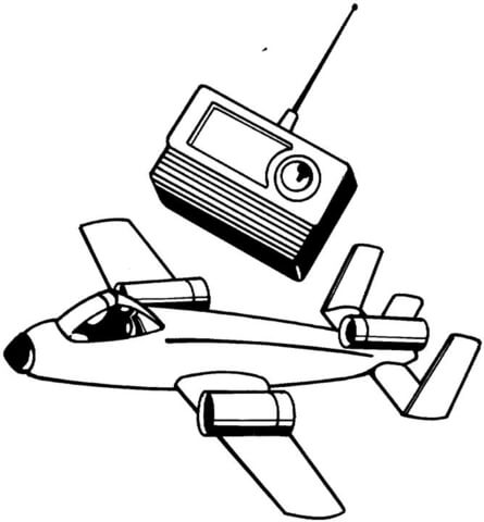 445x480 Plane And Radio Receiver Coloring Page Free Printable Coloring Pages