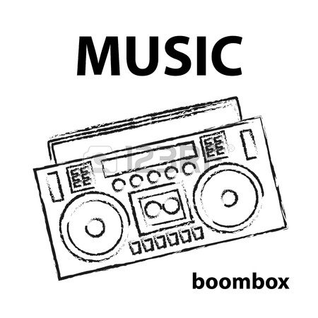 450x450 Boombox Vector Drawing Illustration Retro Sketch Art Royalty Free